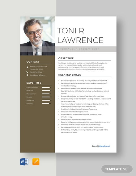 Free Medical Clinic Receptionist Resume Template