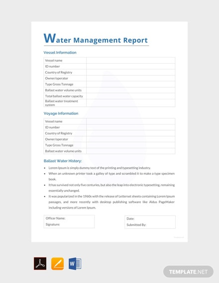Free Water Management Report Template