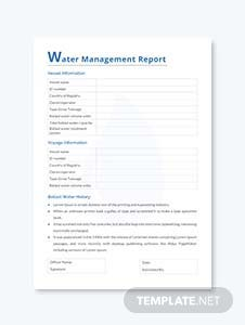 Water Management Report Template