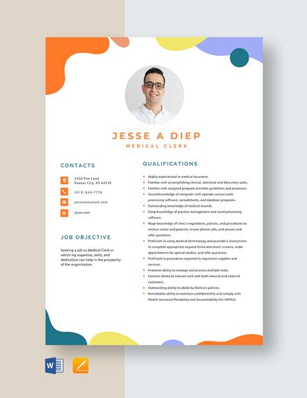 Medical Clerk Resume Template