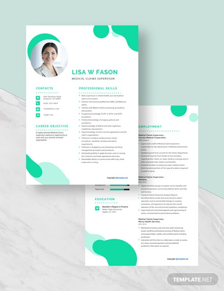 Medical Claims Supervisor Resume Download