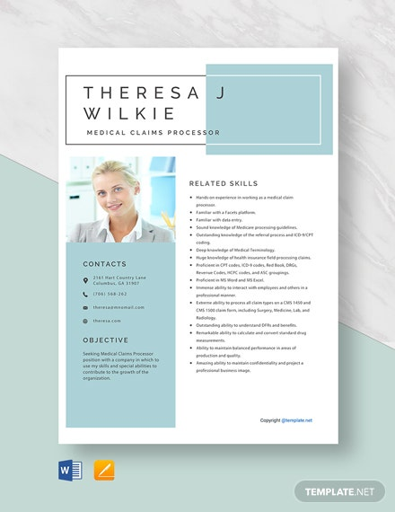 Free Medical Claims Processor Resume Template