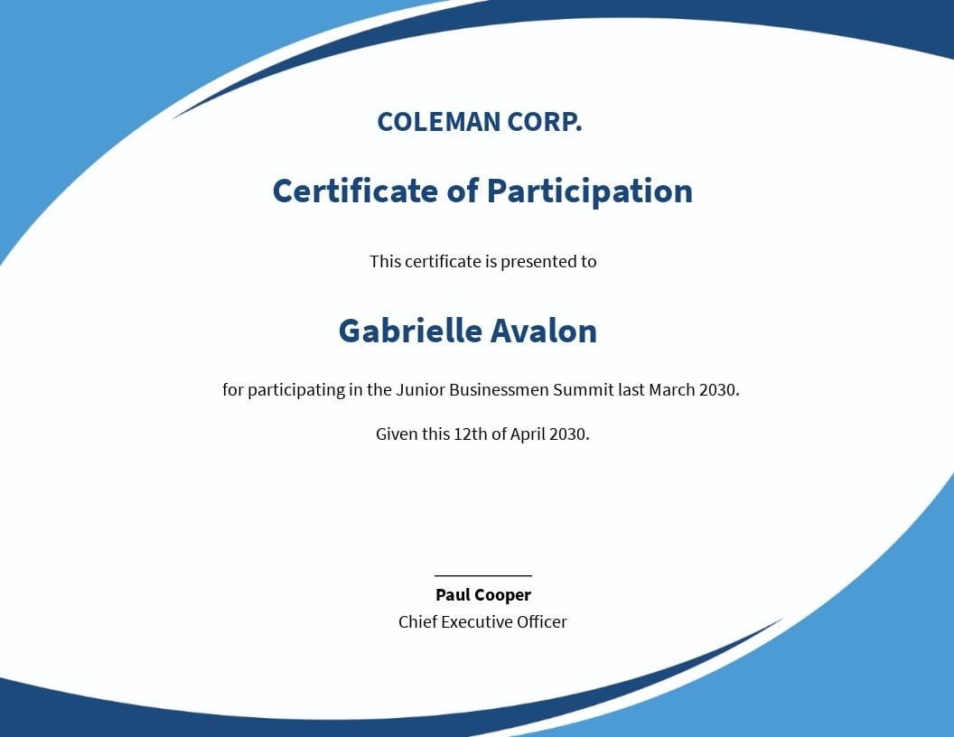 Free Program Participation Certificate Template.jpe