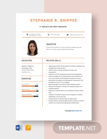 Free IT Service Delivery Manager Resume Template
