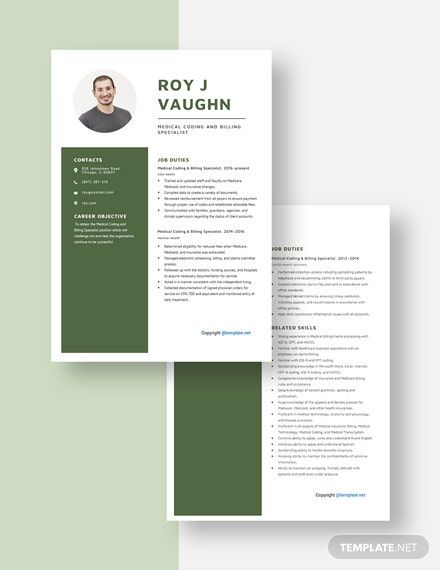 Medical Coding and Billing Specialist Resume Download