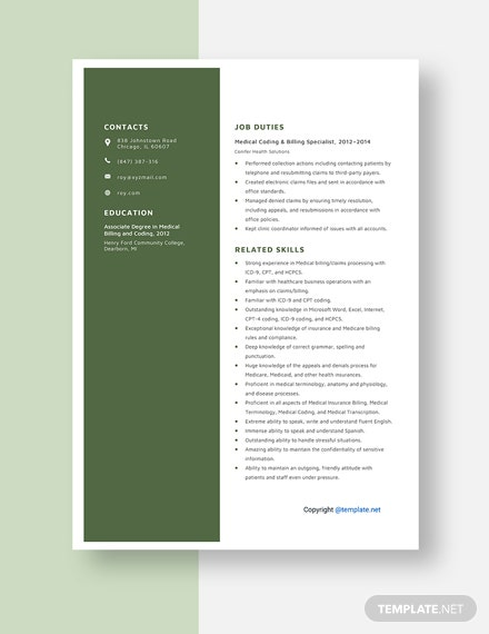 Medical Coding and Billing Specialist Resume Template