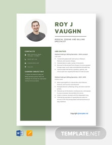 Free Medical Coding and Billing Specialist Resume Template