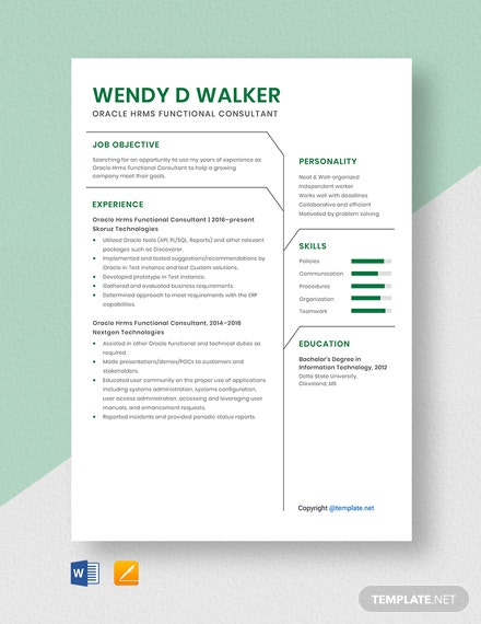 Free Oracle Hrms Functional Consultant Resume Template