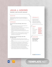 Free Personal Lines Account Manager Resume Template