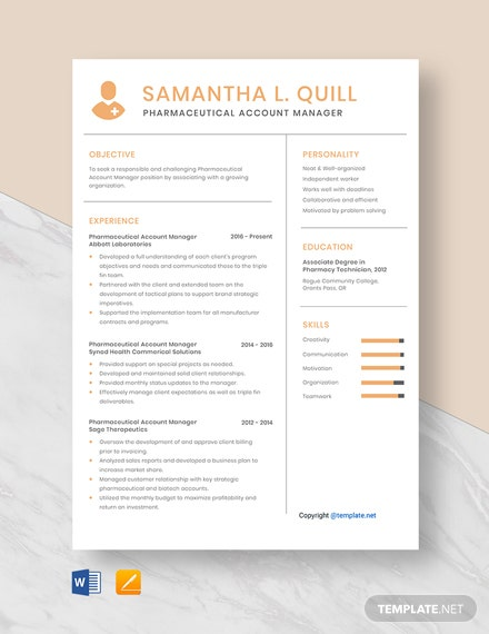Free Pharmaceutical Account Manager Resume Template