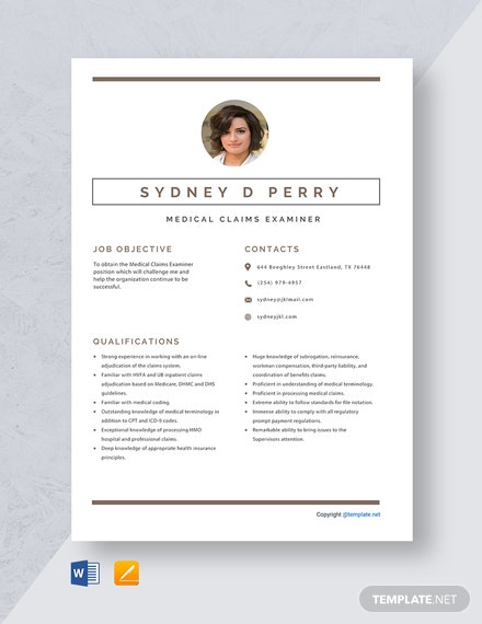 Free Medical Claims Examiner Resume Template