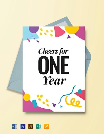 Free 1 Year Anniversary Invitation Card Template