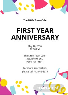 Free 1 Year Anniversary Invitation Card Template
