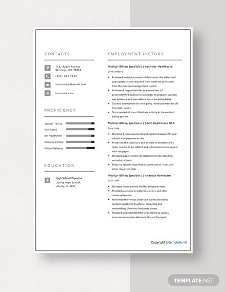 Medical Billing Specialist Resume Template