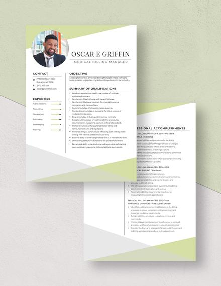 Medical Billing Manager Resume Download