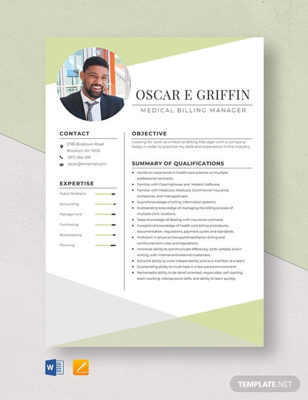 Medical Billing Manager Resume Template