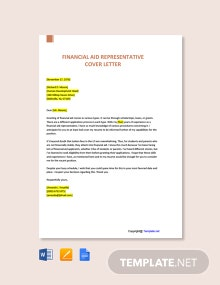 Free Financial Aid Representative Cover Letter Template