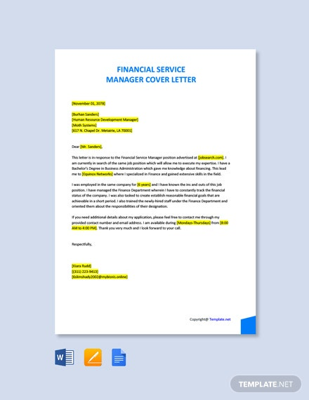Free Financial Service Manager Cover Letter Template