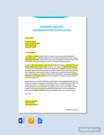 Free Financial Service Representative Cover Letter Template