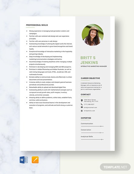 Interactive Marketing Manager Resume Template