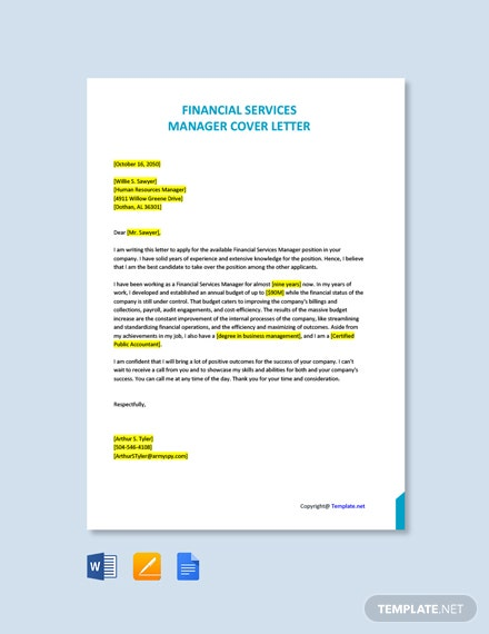 Free Financial Services Manager Cover Letter Template