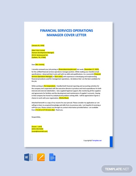 Free Financial Services Operations Manager Cover Letter Template