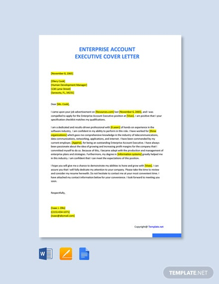 Free Enterprise Account Executive Cover Letter Template