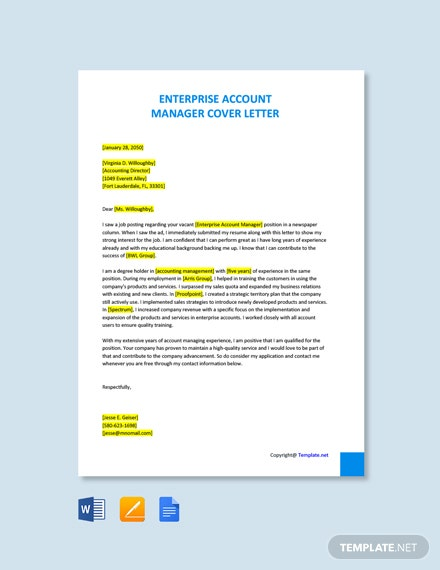 Free Enterprise Account Manager Cover Letter Template