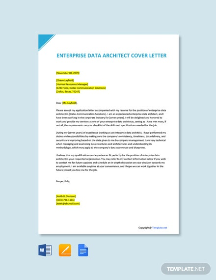Free Enterprise Data Architect Cover Letter Template