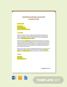 Free Certified Nursing Assistant Cover Letter Template