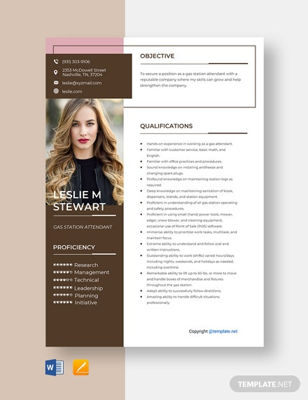 free gas station cashier resume template