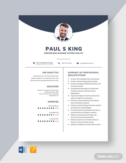 Professional Business Systems Analyst Resume Template
