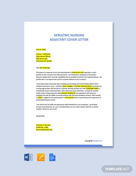 Free Geriatric Nursing Assistant Cover Letter Template