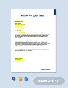 Free Nursing Aide Cover Letter Template