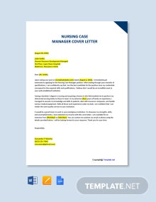 Free Nursing Case Manager Cover Letter Template