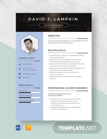 Multimedia Manager Resume Template