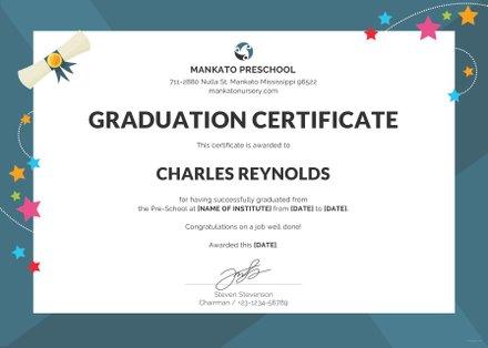 Free Preschool Graduation Certificate Template
