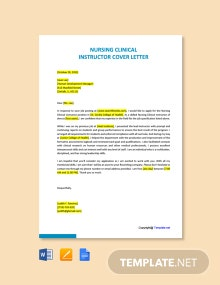 Free Nursing Clinical Instructor Cover Letter Template