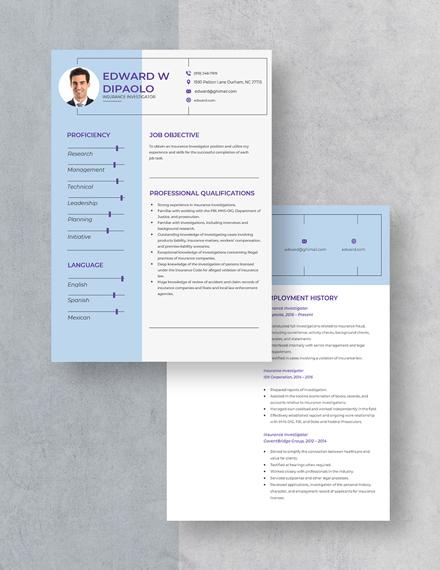 Insurance Investigator Resume Download