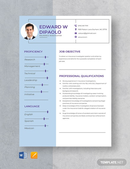 Insurance Investigator Resume Template