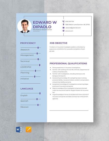 Insurance Investigator Resume Template