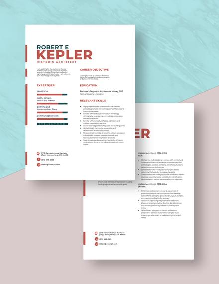Historic Architect Resume Download