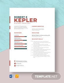 Historic Architect Resume Template