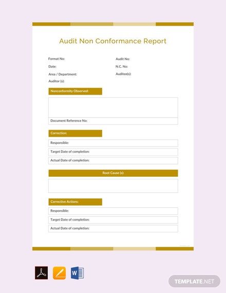 Free Audit Non conformance Report Template