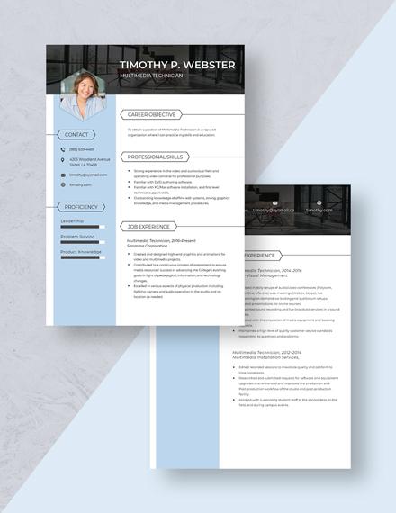 Multimedia Techinician Resume Download