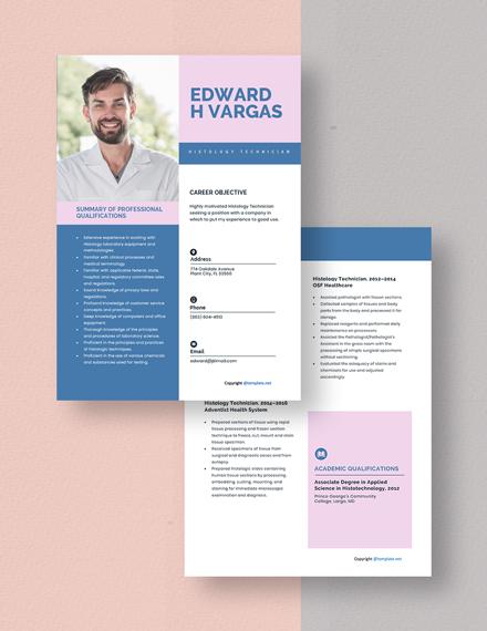 Histology Technician Resume Download
