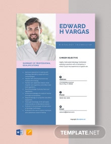 Free Histology Technician Resume Template