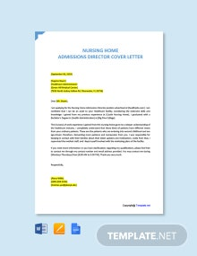 Free Nursing Home Admissions Director Cover Letter Template