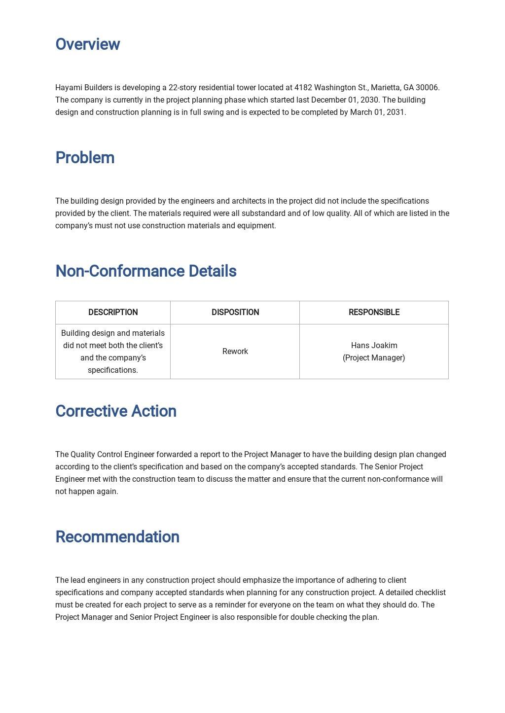 Free Blank Non Conformance Report Template 1.jpe