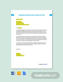 Free Nursing Instructor Cover Letter Template